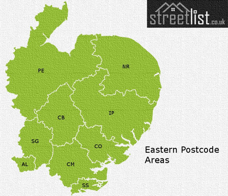 Map of postcode areas in East England