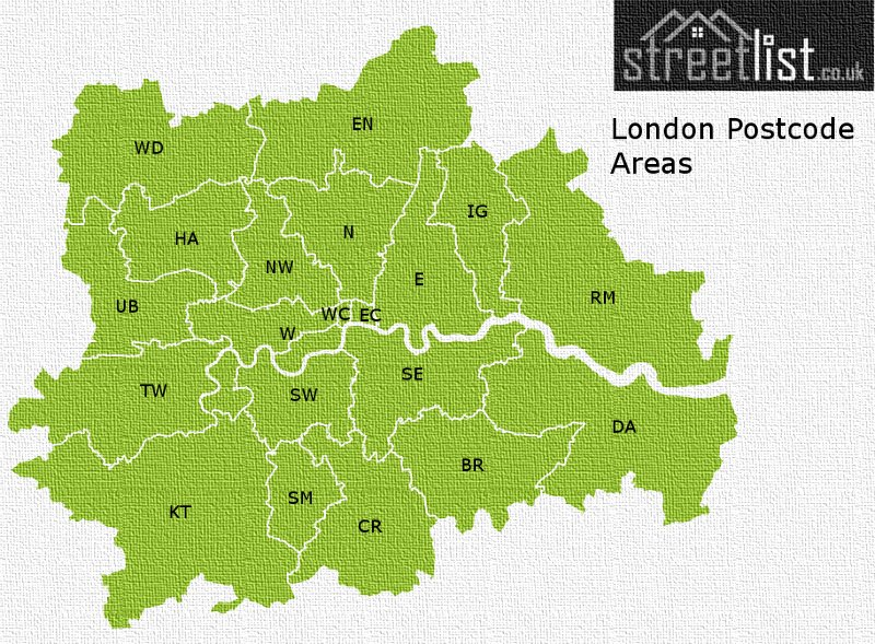 Map of postcode areas in London