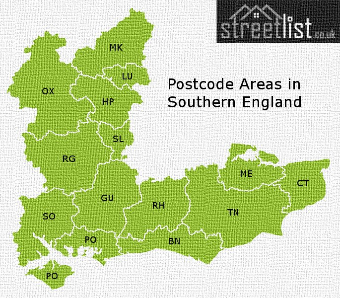 Map of postcode areas in Southern England
