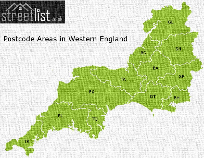 Map of postcode areas in Western England