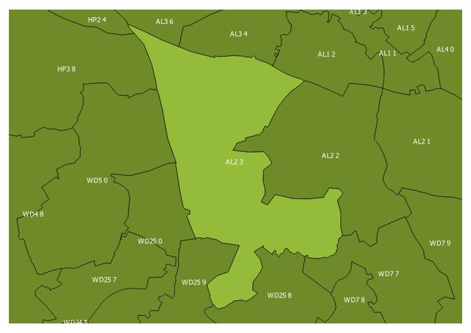 Map of the AL2 3 and surrounding sectors