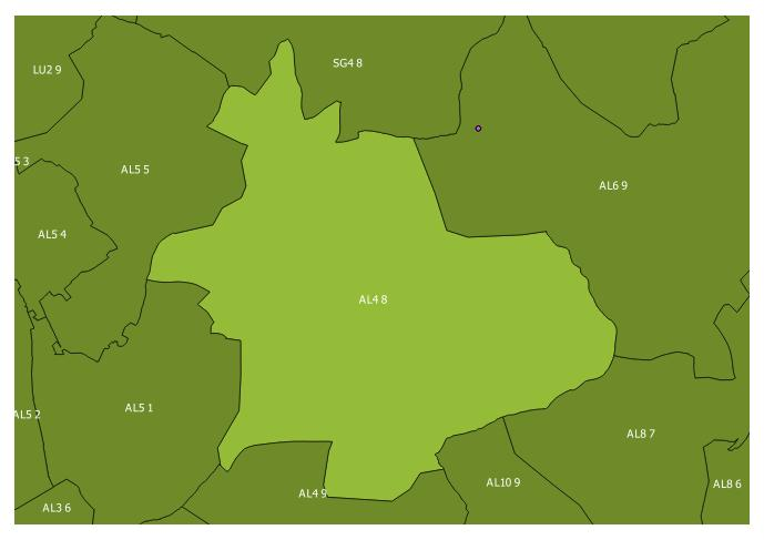 Map of the AL4 8 and surrounding sectors