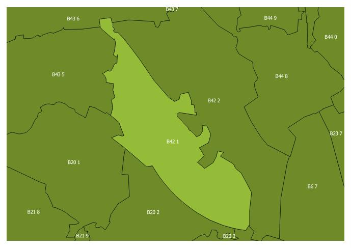 Map of the B42 1 and surrounding sectors