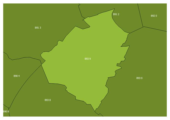 Map of the B93 9 and surrounding sectors