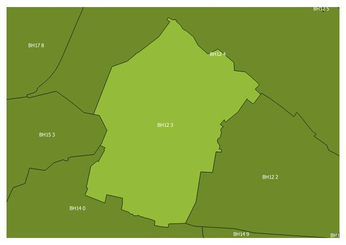 Map of the BH12 3 and surrounding sectors