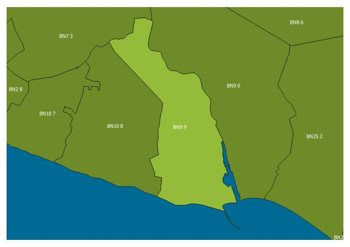Map of the BN9 9 and surrounding sectors