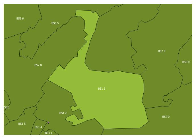 Map of the BS1 3 and surrounding sectors