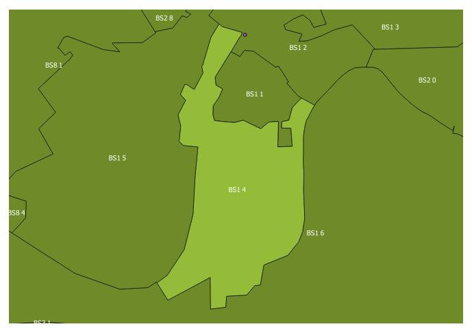 Map of the BS1 4 and surrounding sectors