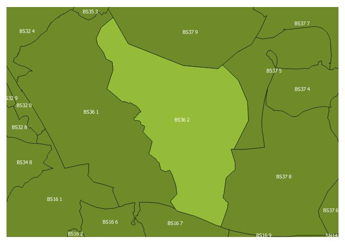 Map of the BS36 2 and surrounding sectors