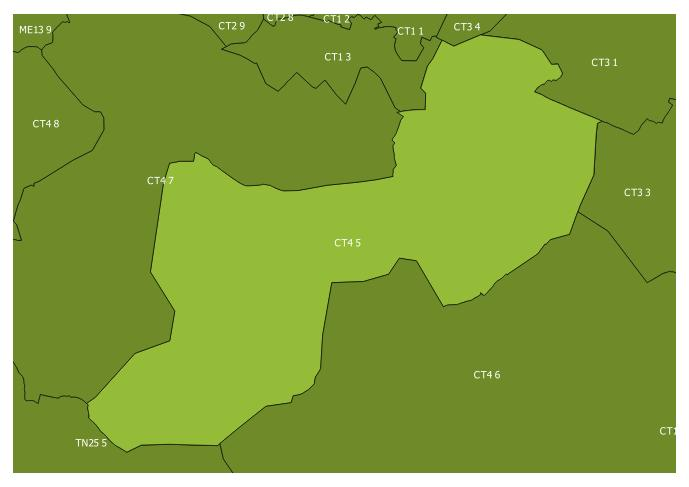 Map of the CT4 5 and surrounding sectors