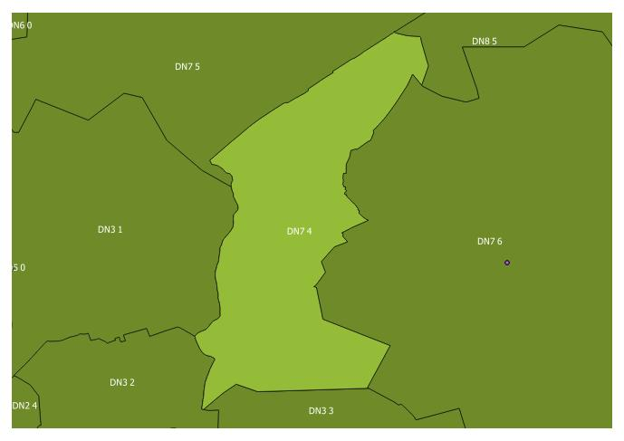 Map of the DN7 4 and surrounding sectors