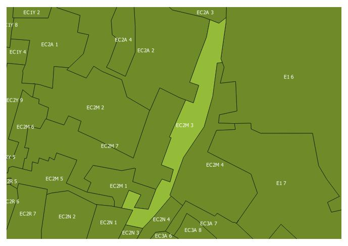 Map of the EC2M 3 and surrounding sectors