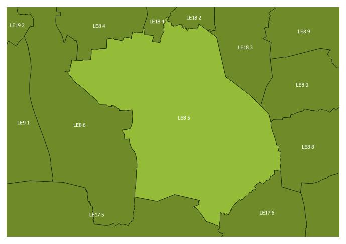 Map of the LE8 5 and surrounding sectors