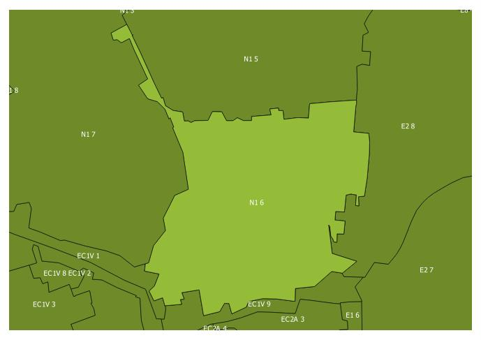 Map of the N1 6 and surrounding sectors