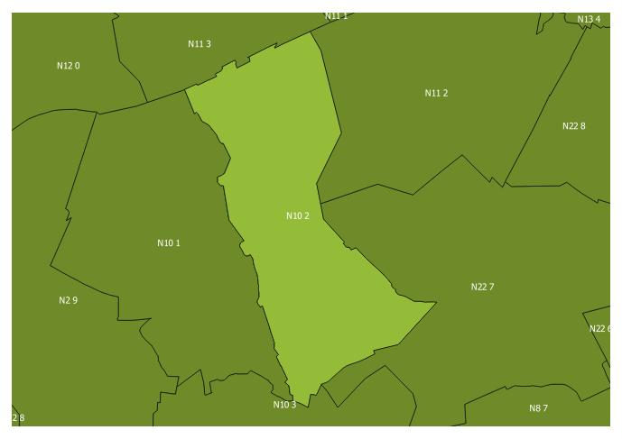Map of the N10 2 and surrounding sectors