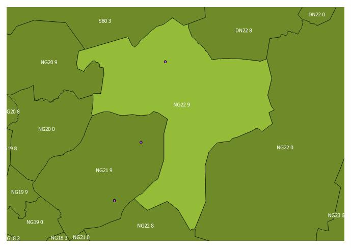 Map of the NG22 9 and surrounding sectors