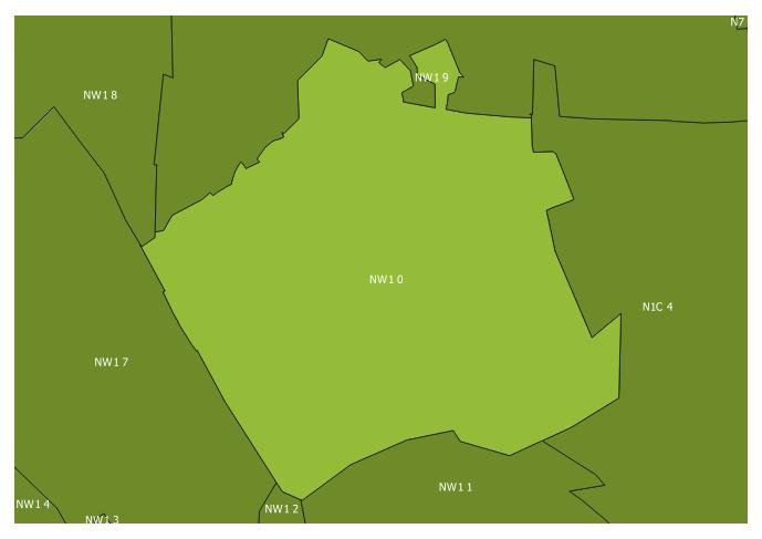 Map of the NW1 0 and surrounding sectors