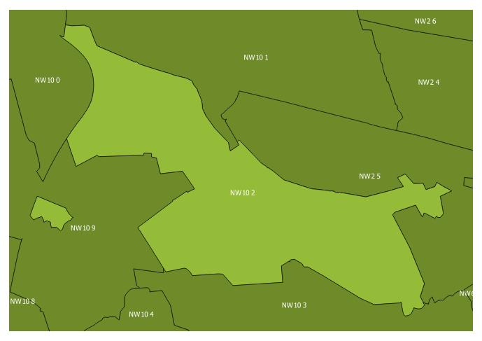 Map of the NW10 2 and surrounding sectors
