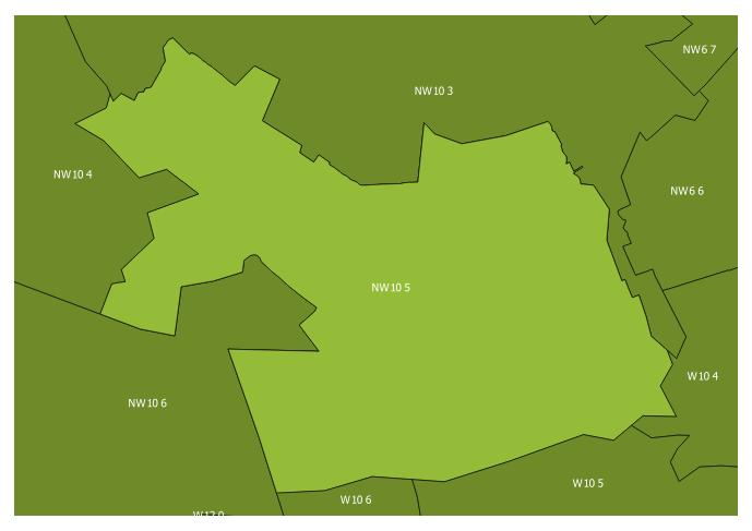 Map of the NW10 5 and surrounding sectors