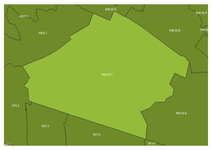 Map of the NW10 7 and surrounding sectors