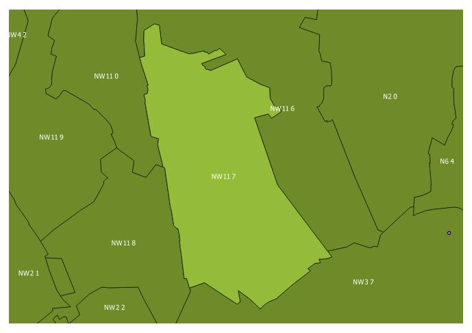 Map of the NW11 7 and surrounding sectors
