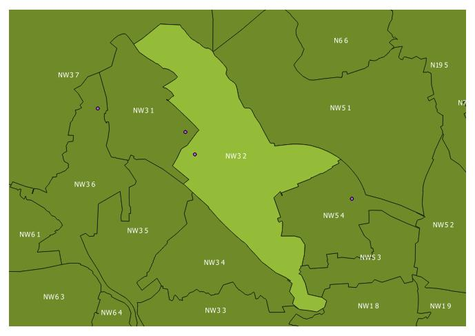 Map of the NW3 2 and surrounding sectors