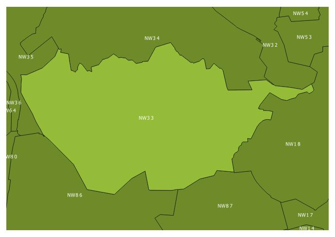 Map of the NW3 3 and surrounding sectors