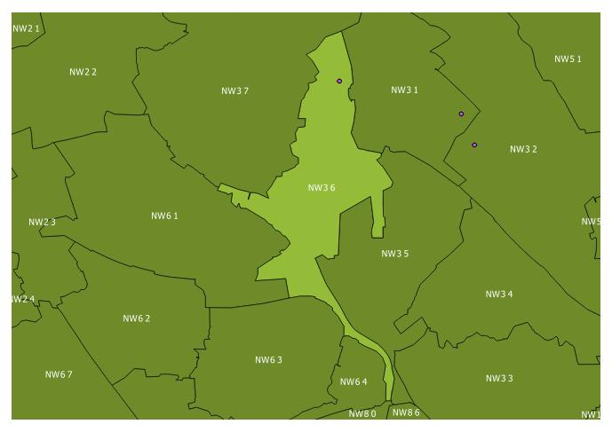 Map of the NW3 6 and surrounding sectors