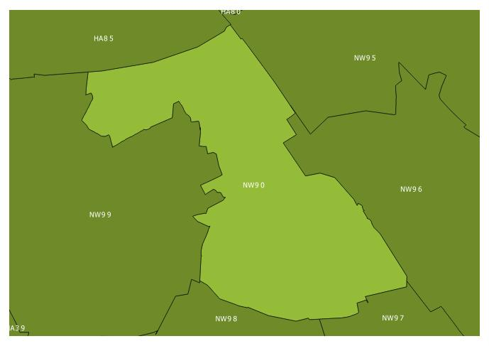 Map of the NW9 0 and surrounding sectors