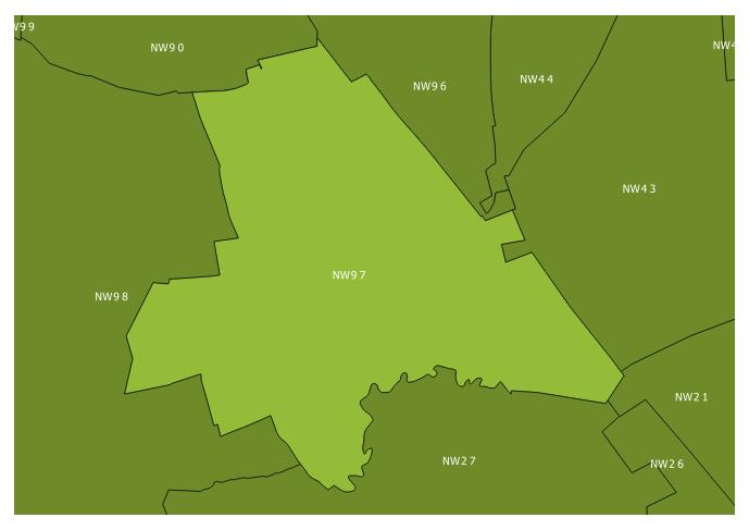 Map of the NW9 7 and surrounding sectors