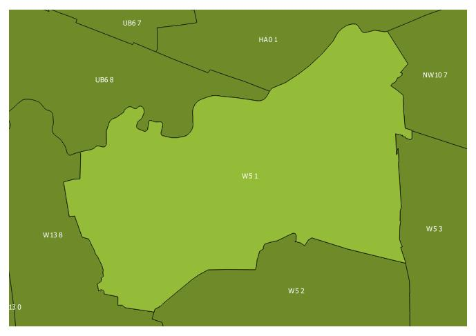 Map of the W5 1 and surrounding sectors