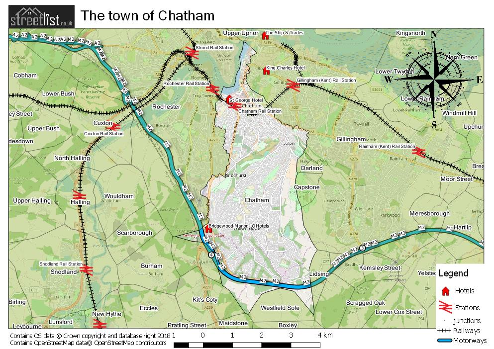 Chatham England Map.The Town Of Chatham Medway B In The County Of Kent
